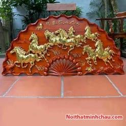 Tranh quạt gỗ mã đáo thành công treo tường dát vàng