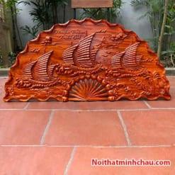 Tranh quạt gỗ thuận buồm xuôi gió treo tường