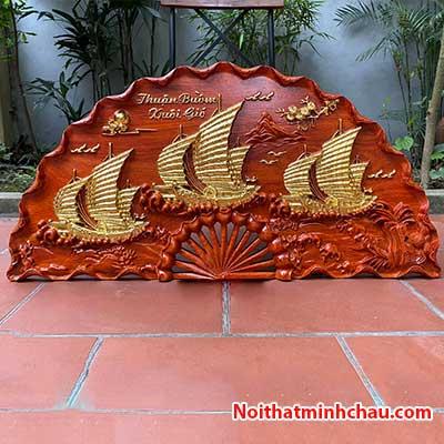 Tranh quạt gỗ thuận buồm xuôi gió treo tường dát vàng