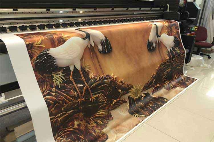 tranh dán tường 3d in trên vải lụa kim sa lụa bóng