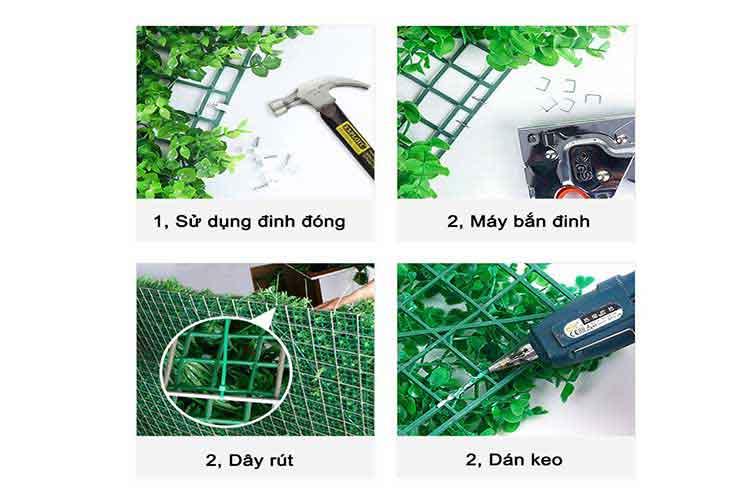 thi công tường cây giả tấm cỏ nhựa treo tường