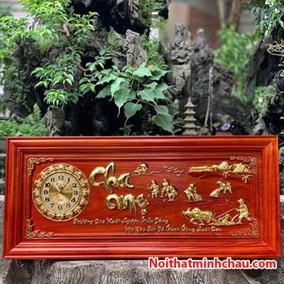 Tranh gỗ đồng hồ cha mẹ 48x108cm dát vàng