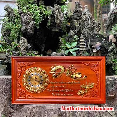 Tranh gỗ đồng hồ chữ Đức 41x81cm dát vàng