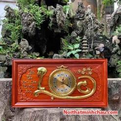 Tranh gỗ đồng hồ chữ Lộc 41x81cm dát vàng