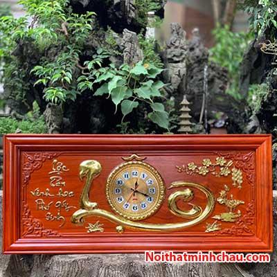 Tranh gỗ đồng hồ chữ Lộc 48x108cm dát vàng