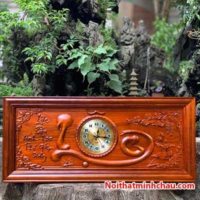 Tranh gỗ đồng hồ chữ Lộc 48x108cm Pu