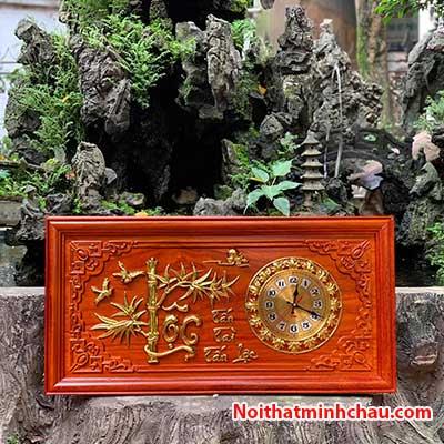 Tranh gỗ đồng hồ chữ Lộc cành trúc 41x81cm dát vàng