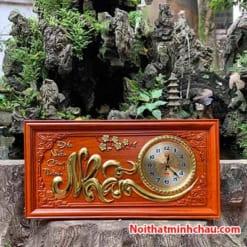 Tranh gỗ đồng hồ chữ Nhẫn 41x81cm dát vàng
