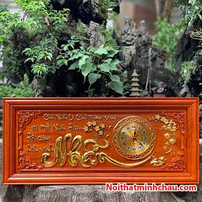 Tranh gỗ đồng hồ chữ Nhẫn 48x108cm dát vàng