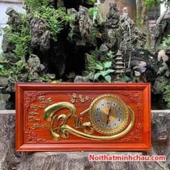 Tranh gỗ đồng hồ chữ Phúc 41x81cm dát vàng