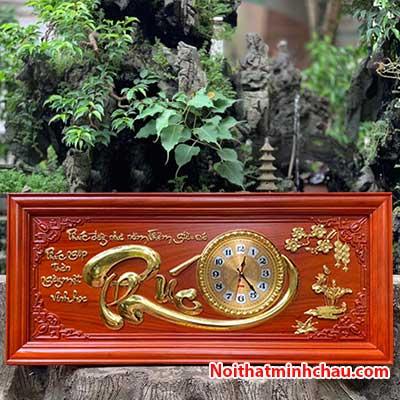 Tranh gỗ đồng hồ chữ Phúc 48x108cm dát vàng