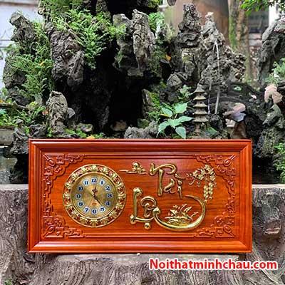 Tranh gỗ đồng hồ chữ Tài Lộc 41x81cm dát vàng