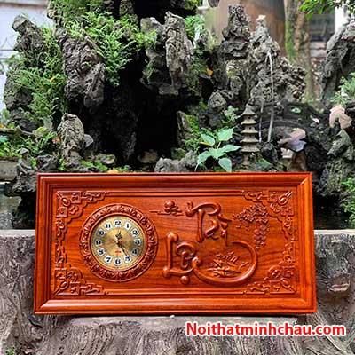 Tranh gỗ đồng hồ chữ Tài Lộc 41x81cm PU