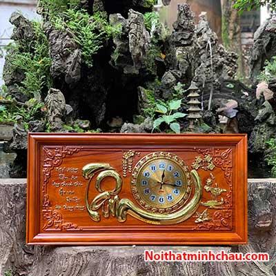 Tranh gỗ đồng hồ chữ Tâm 41x81cm dát vàng