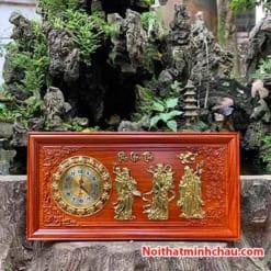 Tranh gỗ đồng hồ Phúc Lộc Thọ 41x81cm dát vàng