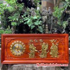 Tranh gỗ đồng hồ Phúc Lộc Thọ 48x108cm dát vàng
