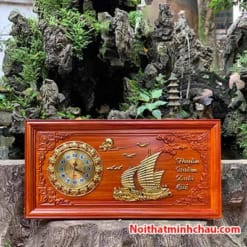 Tranh gỗ đồng hồ Thuận Buồm Xuôi Gió 41x81cm dát vàng