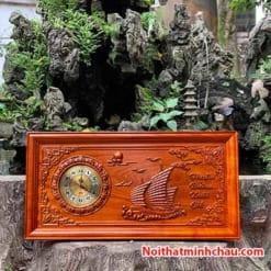 Tranh gỗ đồng hồ Thuận Buồm Xuôi Gió 41x81 PU