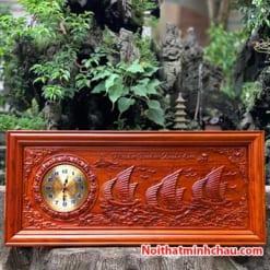 Tranh gỗ đồng hồ Thuận Buồm Xuôi Gió 48x108cm PU