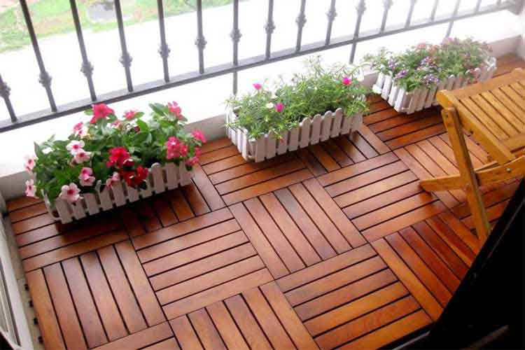 vỉ gỗ tự nhiên ngoài trời lát sàn ban công