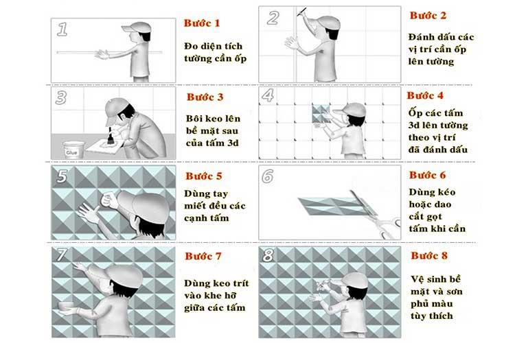 Cách thi công tấm ốp tường 3d