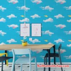 xốp dán tường bầu trời xanh mây trắng mc08 hoàn thiện
