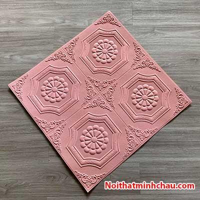 Xốp dán tường giả da hoa thị MC44 màu hồng phấn