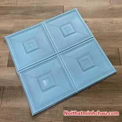 Xốp dán tường giả da ô vuông MC23 màu xanh dương
