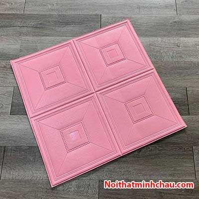 Xốp dán tường giả da ô vuông MC24 màu hồng phấn