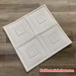 Xốp dán tường giả da ô vuông MC26 màu trắng