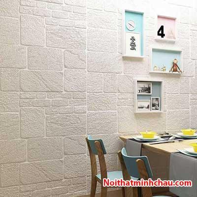 Xốp dán tường hoa văn bê tông MC24 màu trắng hoàn thiện