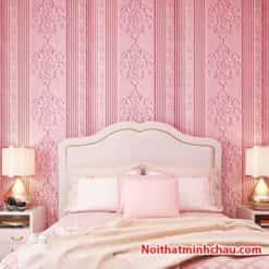 Xốp dán tường hoa văn tân cổ điển MC34 màu hồng phấn hoàn thiện