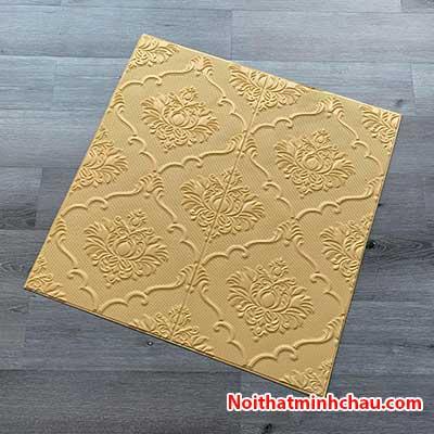 Xốp dán tường hoa văn tân cổ điển MC71 màu vàng kem